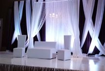 White & Plum Wedding Backdrop / White & Plum Backdrop with Criss Cross and Hanging Chandelier
