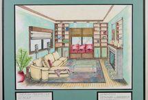 hand drawn interiors