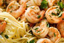 Pasta, peixe e frutos do mar