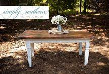 Farmhouse Style Dining / Custom built farmhouse tables, chairs and benches