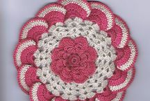 crochet potholders, coasters and dishcloths
