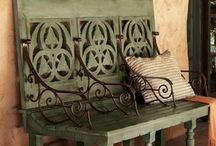 Bench outdoor / Ideas for garden bench made of concrete or/and reused furniture