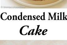 condense milk cake with strawberries.