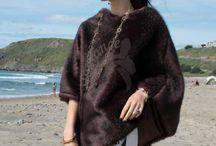 Fur Ponchos - Deep Burgundy Mink - Gorgeous dark on a bright color pattern skirt