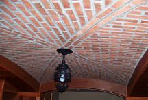 Brick Tile Ceilings / Brick tiles are perfect for an arched ceiling look. They will stay in place when installed, with a tough non-sagging adhesive (like Laticrete Multi-Max). The result is so beautiful!