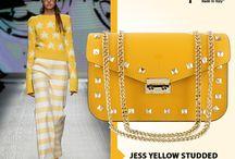 Jess Yellow studded Italian leather handbag