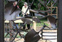 metal wheels garden art