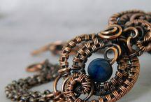 My work / wire wrapping jewellery beads gems