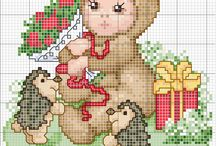 Craft - Cross stitch - animal babies