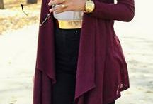 burgundy cardigan outfits / by Lee Anne Bourque