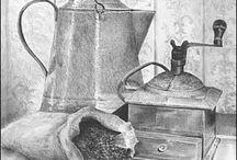 Old tins drawing