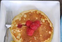 eggs, pancakes, breakfast