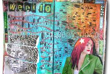 """Pinned art journal spreads from """"The Chronicles of Marit"""" / Art journal spreads from my """"Chronicles"""" that other's pinned (thanks for pinning sweeties!) The Chronicles is my visual diary that I started in 2010. I create a weekly spread in these 'visual diary' ever since."""