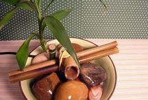 Fonte de água com bambu