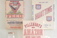 Sacks / Feed Sacks, Grain Sacks, Coffee Sacks & some Burlap to create Vintage farmhouse charm