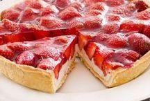 tarta de yogurt con fresas.
