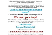 Sixty Million Trebles / A board to showcase the wonderful blankets that people have made for sixty million trebles project. Anyone can help; either making blankets or helping with collection/storage. Please see poster pin below for info on how to join in. Thank you.