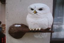 Owl And Bat Sculpture