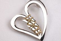 Heart Jewelry / Sterling Silver Broken Heart - Mended by Hand with a strand of 14k Yellow Gold
