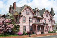 Pink houses and buildings