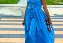 BLUE SHINE! High-low button front top & Fitted cigarette pants