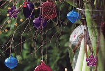 Christmas flowers / Christmas arrangements using seasonal flowers and baubles.