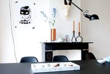Home work space / Black table so gorgeous- not sure it's practical but very sleek