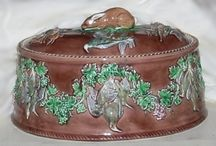 Old oval game pie dish