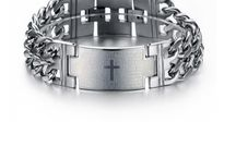 ARM024 / Look Inspiration for our Stainless Steel Chain Link Cross Bracelet