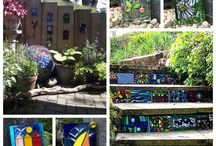Stained Glass Mosaic Garden Tile by Sue Smith