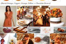 Chocolate and Orange / Chocolate brown and orange wedding theme with natural confetti ideas from The confetti cone company www.confetti-cones.co.uk