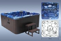 Pontus 7 Seater ( 5 seats & 1 lounger) Luxury Hot Tub Spa By Zspas  / 2000 x 2000 x 1000mm hot tub spa with chrome trims & free wooden steps & spas cover with each order