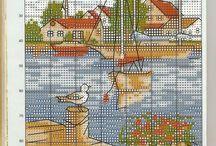 haft krzyżykowy-krajobraz