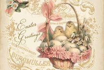 Húsvét színes / Easter Vintage transfer transzfer colorful