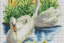 Cross stitch - swans