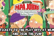 Papa John's Football League / Want to be in with the chance of winning tickets to the play offs at Wembley for you and 9 other mates*? Also the chance to win free pizza for a year and 2 tickets to any Football league game*.  Take part in two football challenges- it runs every Saturday until the 26th April 2014: for *full details and to enter go to http://www.comeround.com/papajohns/