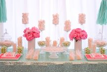 Peonie Pink and Soft Mint Sweets Bar / This beautiful summer wedding sweet bar was styled around a fresh and vibrant colour palette of mint and peony pink. The custom mint sequin tablecloth was the base to build this vibrant and romantic treat station. With custom chocolate wraps, a stunning selection of gourmet treats and fresh floral touches ensured this sweet bar complimented this romantically relaxed marquee wedding. Youtube: https://www.youtube.com/watch?v=qR3aFJ8CRcY