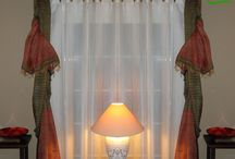 Throws/curtains/drapes / Exclusive, uniques drapes and curtain choices and sofa throws, throw cushions for your home decor. Ethnic, distinctive look to your living room, french windows, bedroom.