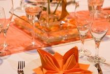 Colour Schemes: Orange Wedding Table Colour Scheme / Ideas for wedding tables and accessories following an orange colour scheme.