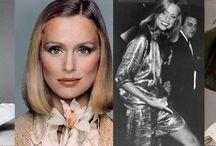 70s / Брюки-клешь, шелковые рубашки с расклешенными рукавами, цветные брючные костюмы