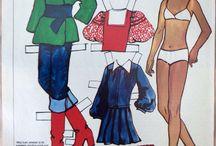 Paperinukkeja 1960-1970, s / Paper dolls /  Kirja Rauni Palonen, paperitähdet arkilla.