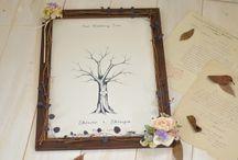 ウェディングツリー/ボネ [ wedding tree / guest book ] / ビンテージ・デッサン風のウェディングツリー [ wedding tree / guest book ]
