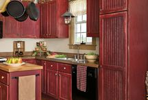 Home: Kitchens in Red / Red can be intimidating but if used correctly with the right accents and accessories -a red kitchen can be very downright country!