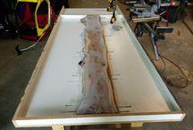 Table bois beton verre