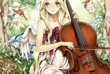 Cello,Contrabassa,double bass player pose/anime