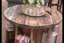 houten haspel tafel