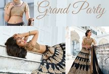 Grand Party / Be your best at parties with these ornate #lehengaSets from #bluekurta. Ethereal colors with heavy embroidery in #resham, #zari and #stones. Complementary #dupattas and #bouses. Find more at http://www.bluekurta.com/index.php?route=product%2Fsearch&filter_name=WLGc611020