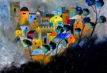 Cores fortes e vibrantes nas pinturas de Pol Ledent