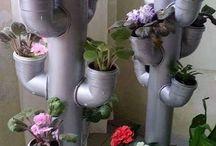 pvc boru içine çiçek dikimi