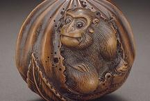 Netsuke-Okimono & Others Carved Ivory,Wood,  Gemstone,Shell Figures